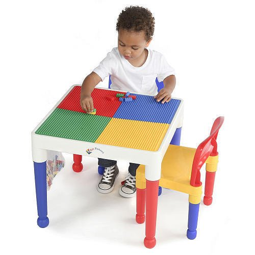 Tot Tutors 2-in-1 Plastic Building Block Compatible Activity Table & 2 Chairs (Dump Truck Lamp compare prices)