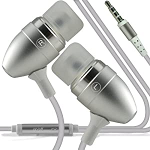 Samsung I9190 Galaxy S4 mini Premium de qualité oreillettes stéréo casques mains libres casque avec microphone intégré Mic & Bouton marche arrêt gris par Spyrox