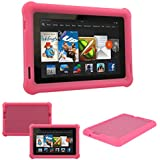 "TECHGEAR® Bumper Case for Amazon Kindle Fire HD 7"" (3rd Gen/2013 edition) Rugged Heavy Duty Anti-shock Protective Case with Added Corner & Edge Protection and Easy Grip Design [PINK] - Kids Schools Builders Workman Case - NOT FOR THE ALL-NEW AMAZON FIRE HD7!"