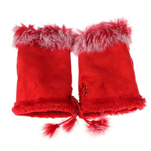 Vovotrade(Tm)Women'S Faux Rabbit Fur Fingerless Gloves Hand Warmer (Red)