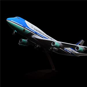 24-Hours 18 1:130 Scale Model Jet United States Air Force One B747 Planes Model Kits Display Diecast Airplane for Adults with LED Light(Touch or Sound Control) (Color: 1/130 Air Force One)