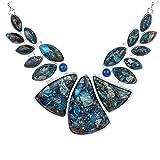 Yazilind Collar Gemstone Teardrop Lapis Lazuli Bib Chunky Statement Necklace Wedding Party