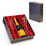 Veuve Clicquot Yellow Label Champagne Brut & 2 x Champagne Flutes in a Luxury Silver Gift Box with Satin Inserts - 18th, 21st, 30th, 40th, 50th, 60th, 70th, 80th, 90th Birthday Christmas Xmas Congratulations Presents, Wedding Anniversary, Retirement, Tha