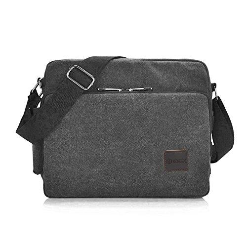 Messenger Bag, GSTEK Unisex Vintage Canvas Messenger Bags Casual Spalla Dell'imbracatura Pacchetto Daypack Bauletto per Lavoro, a Scuola, Uso Quotidiano - 30cm (L) x 10cm (W) x 26cm (H), 26 Tasche - Black