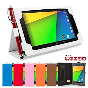 Snugg Nexus 7 2 FHD Case - Smart Cover with Flip Stand & Lifetime Guarantee (White Leather) for Google Nexus 7 2 FHD (2013)