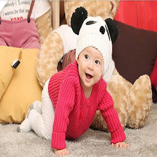Baby Panda Cap,Misaky Kids Girls Boys Stretchy Warm Winter Hat Beanie (White)