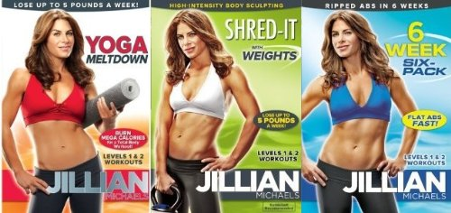 Jillian Michaels 3 DVD Set. Yoga Meltdown/6 Week Six-pack/Shred-It With Weight