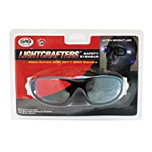 SAS Safety 5420-15 LED Inspectors Readers Safety Glasses, Black Frame, 1.5 Magnification Lens
