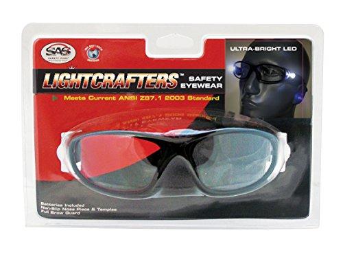 Sas Safety 5420-15 Led Inspectors Readers Safety Glasses, Black Frame, 1.5 Magnification Lens