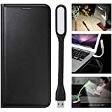 First 4 Cover For Samsung Galaxy J7 Prime Leather Flip Cover With LED Light (Black)