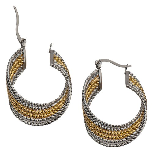 Women's Stainless Steel Two Tone Six Line Twist Hoop Earrings -Sold as a Pair