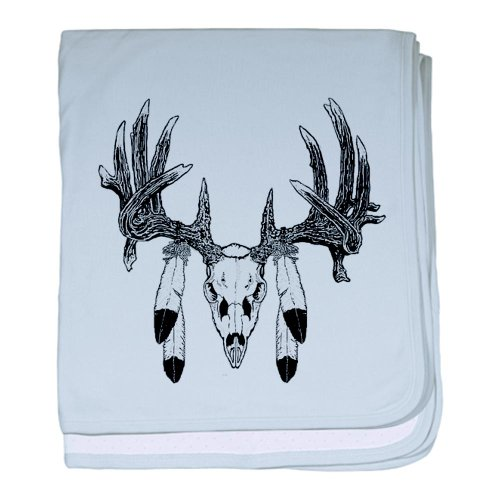 Cafepress European Skull Mount With Eagle Feathers Baby Blan Baby Blanket - Standard front-1031188