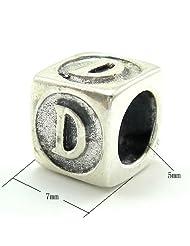 925 Sterling Silver Letter 'D' Charm for Pandora Bracelets