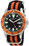 Stuhrling Original Mens 907.331OF1 Aquadiver Regatta Bravura Swiss Quartz Date Black and Orange Canvas Strap Watch