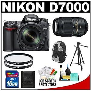 Nikon D7000 16.2 MP Digital SLR Camera & 18-105mm VR DX AF-S Zoom Lens with 55-300mm VR Lens + 16GB Card + Filters + Backpack Case + Tripod + Accessory Kit