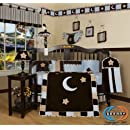 Geenny Designs Brown Blue Star Moon 13 Pcs Crib Bedding Set