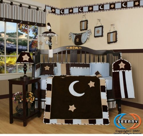 GEENNY Designs Brown Blue Star & Moon 13-PCS CRIB BEDDING SET