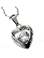 Mother in law heart stainless steel pendant necklace thank you for