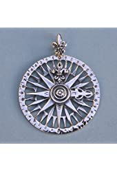 Sterling Silver Compass Rose Pendant with 19.5 inch silver chain
