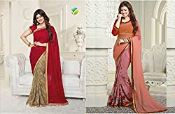 RR FASHION FAUX GEORGETTE SAREE WITH BLOUSE