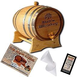 Engraved American Oak Aging Barrel - Design 014: Dad\'s Whiskey (1 Liter)