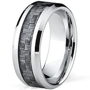 High Polish Cobalt Men's Wedding Band Engagement Ring W/ Gray Carbon Fiber Inlay, Comfort Fit SZ 12