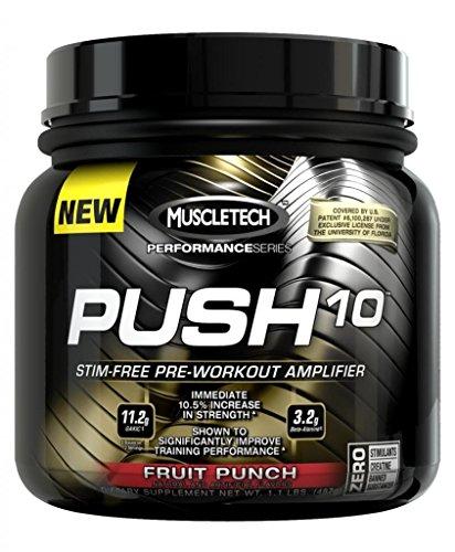 Muscletech Push 10, Fruit Punch, 1.1Lb, Stimulant-Free Pre-Workout Powder