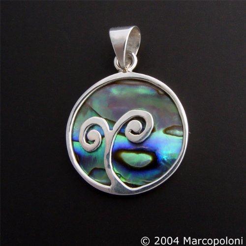 Paua (Abalone) Shell Round Koru Pendant, Small