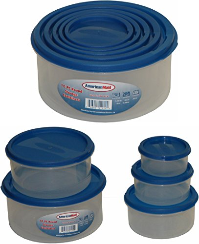American Maid 10-Piece Round Food Storage Set in Blue Lid, Blue (The Lid Maid compare prices)