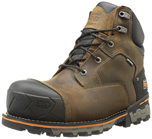 Timberland Pro Men'S 6 Inch Boondock Soft Toe Wp Industrial Work Boot,Brown Oiled Distressed Leather,10 M Us