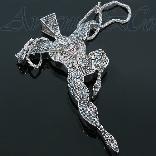 10K White Gold Mens Custom Diamond Venom Pendant