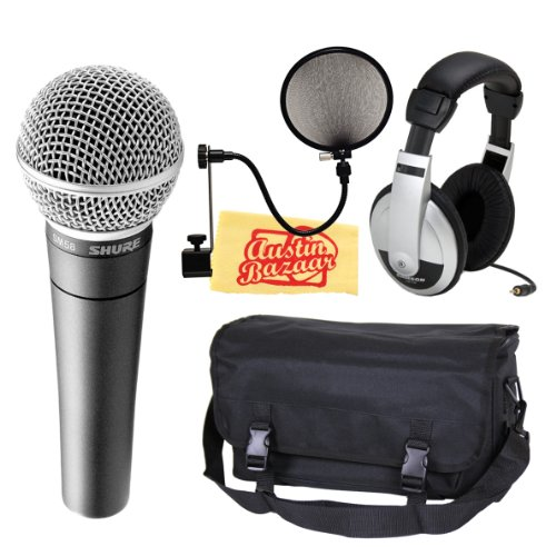 Shure Sm58-Lc Vocal Microphone Bundle With Mic Bag, Headphones, Pop Filter, And Polishing Cloth
