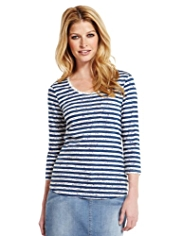 Indigo Collection Pure Cotton Floral & Striped T-Shirt