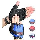 Cycling Gloves Mountain Bike Gloves Road Racing Bicycle Gloves for Biking, Mountain Biking, Riding, Gym, Sports, Foam Padded Breathable Half Finger Gloves, Men Women Work Gloves Blue Large