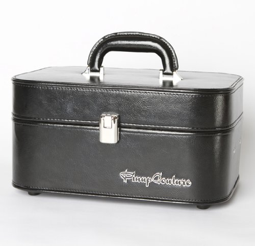 Pinup Couture Black Vinyl Retro Train Case