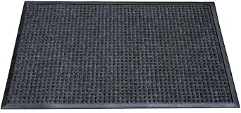 "Durable Corporation Polyester Stop-N-Dry Polyester Carpet Mat, for Indoors & Vestibules, 36"" Width x 48"" Length x 1/2"" Thickness, Charcoal"