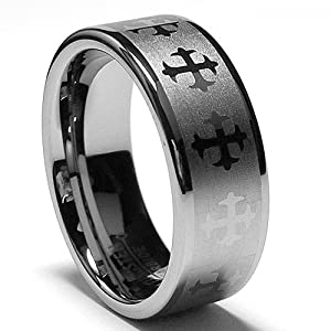 8MM Mens Tungsten Ring with Infinity Laser Etched Cross Design size 11