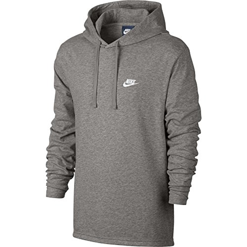 Nike Mens Sportswear Pull Over Hooded Long Sleeve Shirt Light Grey/White 807249-063 Size Large
