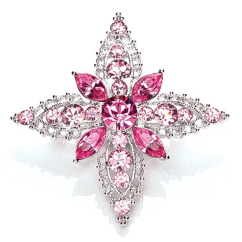 Rhodium Plated Swarovski Crystal Pink Fancy Brooch