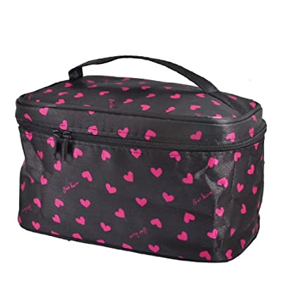 Cheapest uxcell Women Heart Print Zip up Closure Travel Cosmetic Bag Pouch Black by uxcell - Free Shipping Available