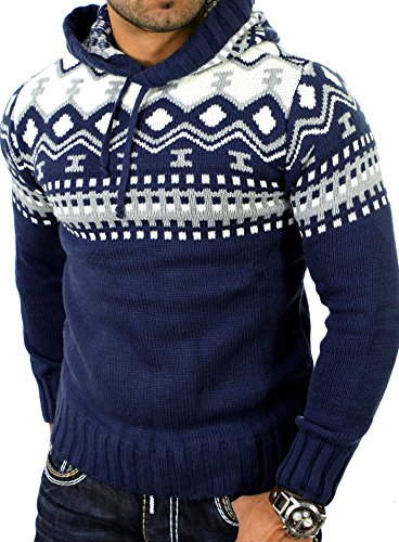 Reslad Herren Grobstrick Pullover Norweger Winter Kapuzenpullover RS-3013 Blau M