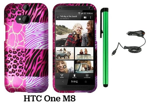 Htc One (M8) (For 2014 Htc New Flagship Android Phone; Us Carrier: Verizon, At&T, T-Mobile, Sprint) Premium Pretty Design Protector Hard Cover Case + Car Charger + 1 Of New Assorted Color Metal Stylus Touch Screen Pen (Pink Exotic Skins : Leopard & Zebra