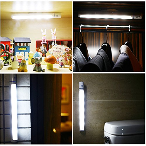 AnSaw-Motion-Sensor-Wireless-LED-Head-Rotated-Night-Light-Bar-DIY-Stick-Handy-Sensitive-Detector-Nightlight-w-Magnetic-Strip-3AA-Battery-Power-included-2-Pack