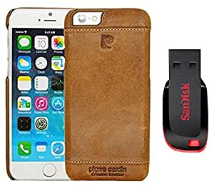 D'clair Premium Pierre Cardin Leather Back Cover Case and 32 GB Pendrive for iphone 6s - Brown