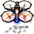 RC Stunt Drone Quadcopter w/ 360 Flip: Crash Proof, 2.4GHz, 4 CH, 3 Blade Propellers, Extra Drone Battery for Extended Fly Time w/ Practice Landing Pad, 2 USB Charger & Spare Parts