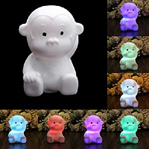 Monkey Shape 7 Color Changing LED Lamp Animal Night Light Nightlight Home Decor by Nollmit Co,LTD