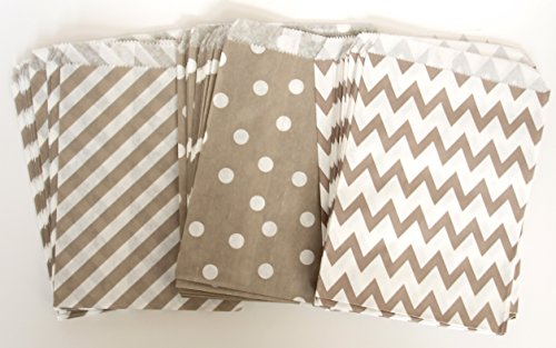 Wedding Candy Bar Bags, Silver Party Bags, Elegant Gift Bags, Paper Bag, 75 Pack - Silver, Striped, Polka Dot & Chevron