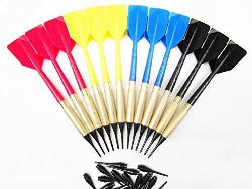 12-new-bar-darts-soft-tip-brass-with-15-extra-tips-blue-red-yellow-black-4-sets