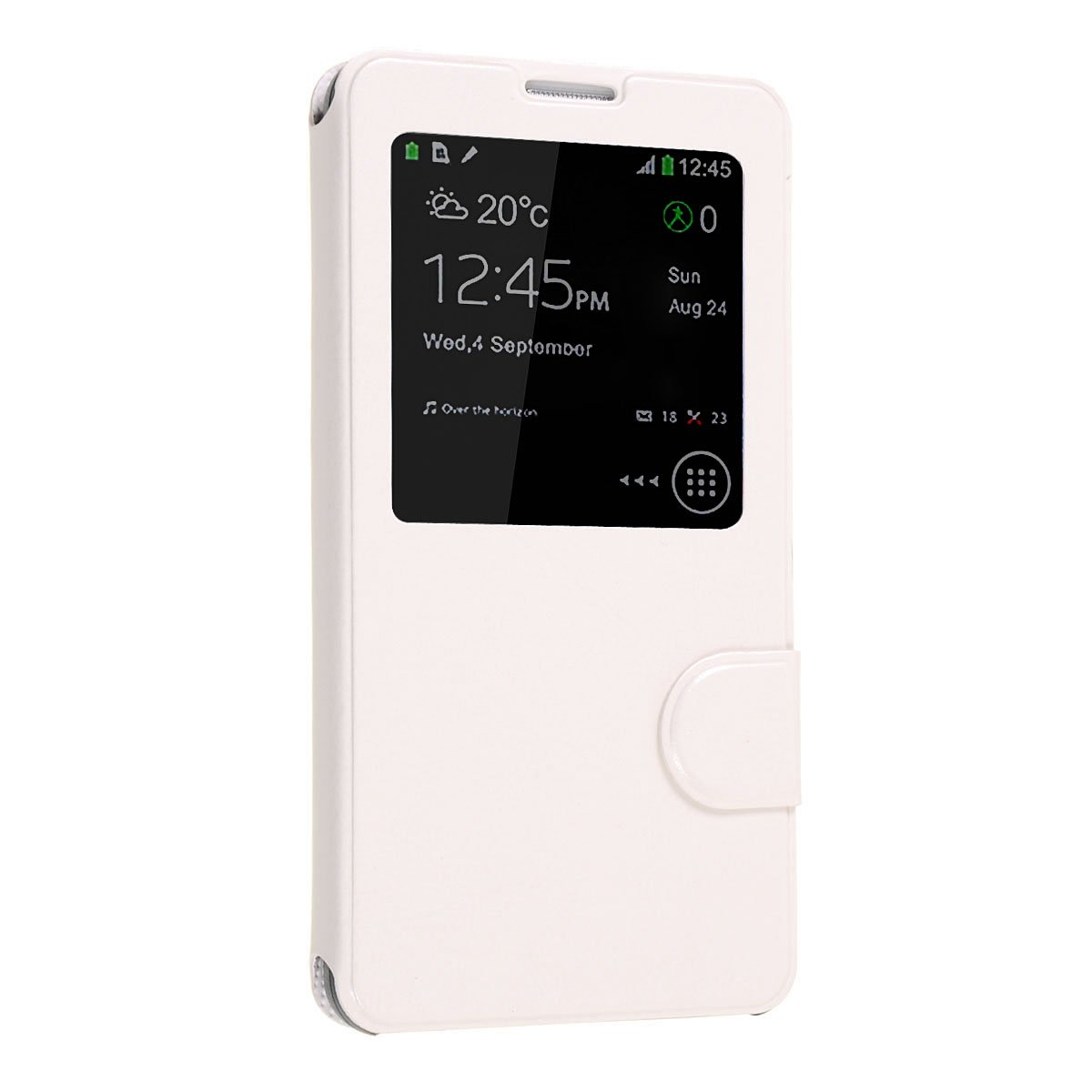 Okeler Hot White S-View Flip Cover Leather Case