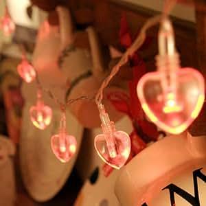 Guirlande Lumineuse à Piles 10 Cœurs avec LED Rouges par Lights4fun